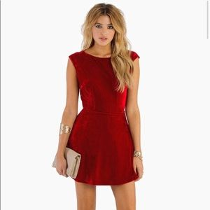 Velvet backless skater dress